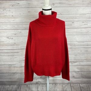 Sanctuary red long sleeve cowl/turtleneck sweater